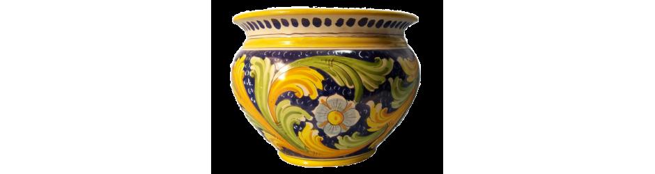 Caspò o portavasi in ceramica di caltagirone